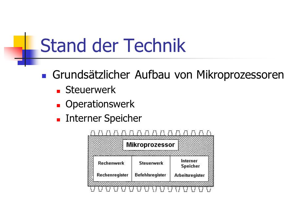 Stand der Technik Grundsätzlicher Aufbau von Mikroprozessoren