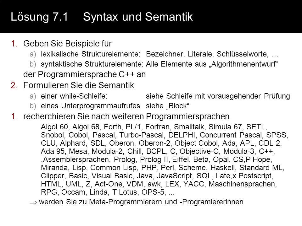Lösung 7.1 Syntax und Semantik