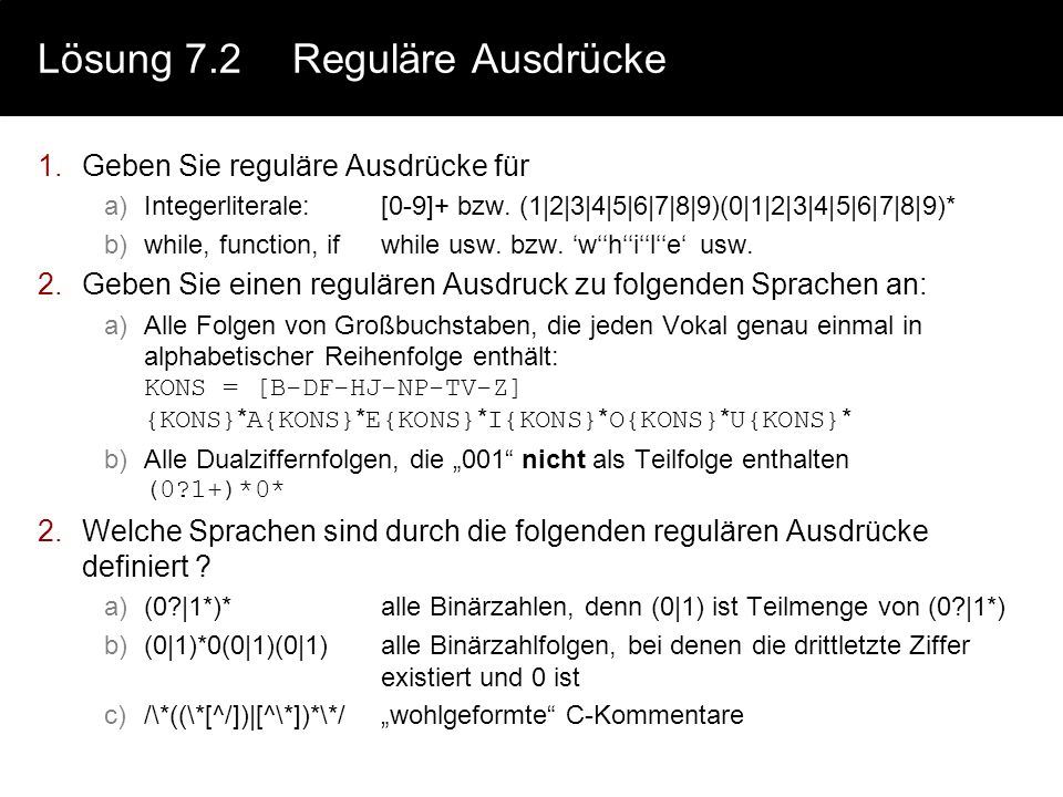 Lösung 7.2 Reguläre Ausdrücke