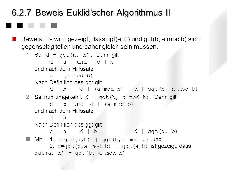 6.2.7 Beweis Euklid'scher Algorithmus II