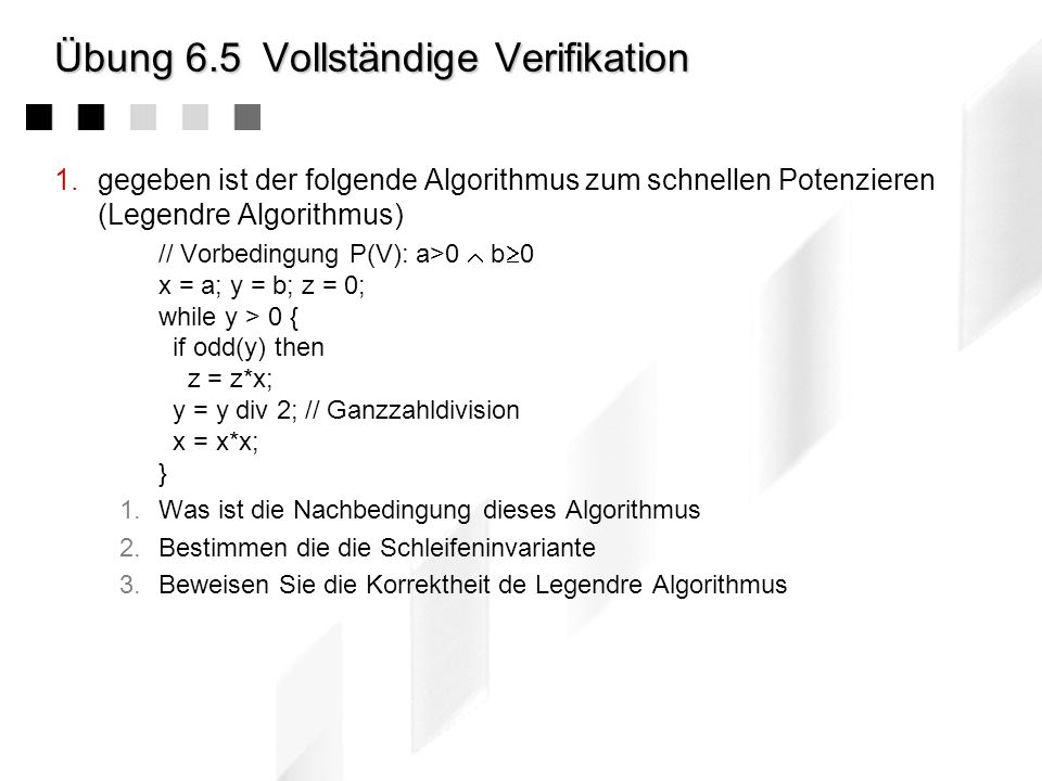 Übung 6.5 Vollständige Verifikation