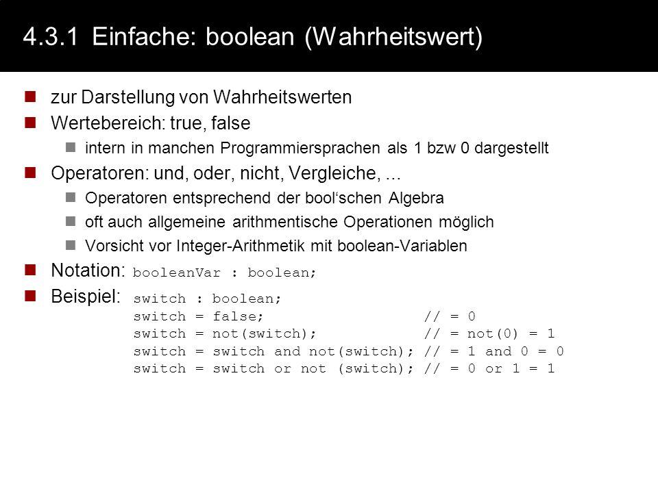 4.3.1 Einfache: boolean (Wahrheitswert)