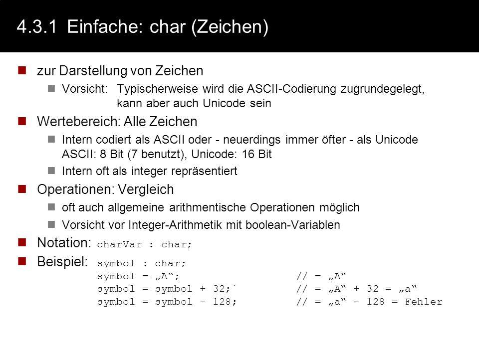 4.3.1 Einfache: char (Zeichen)
