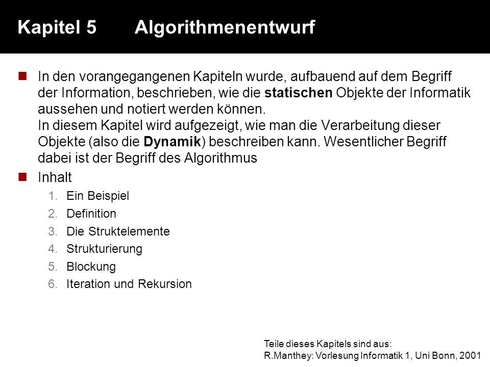 Kapitel 5 Algorithmenentwurf