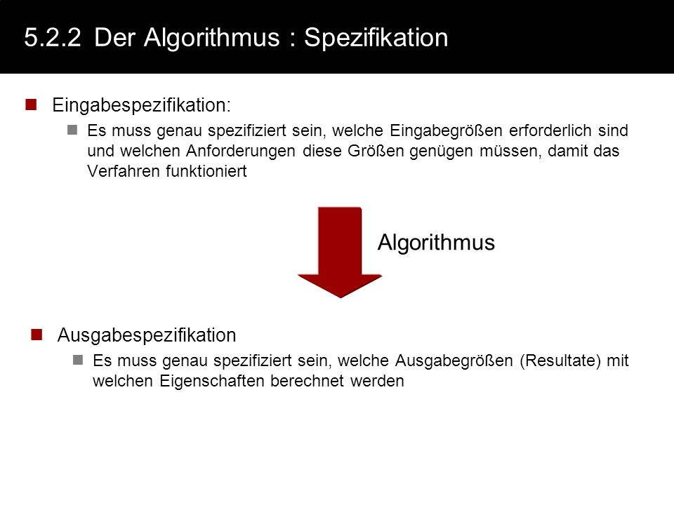 5.2.2 Der Algorithmus : Spezifikation