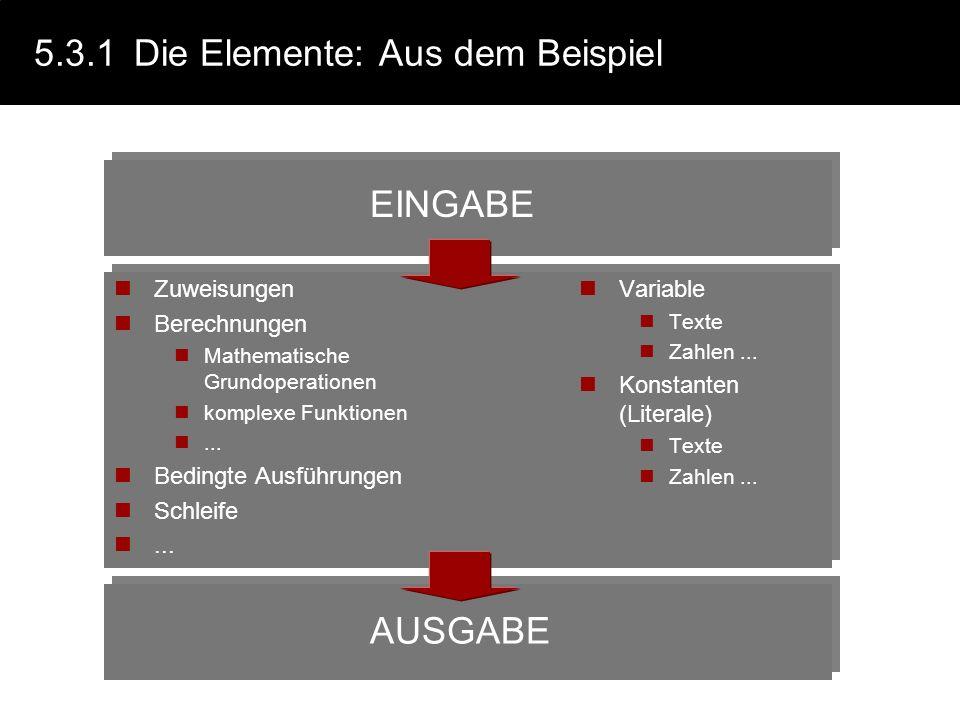 5.3.1 Die Elemente: Aus dem Beispiel