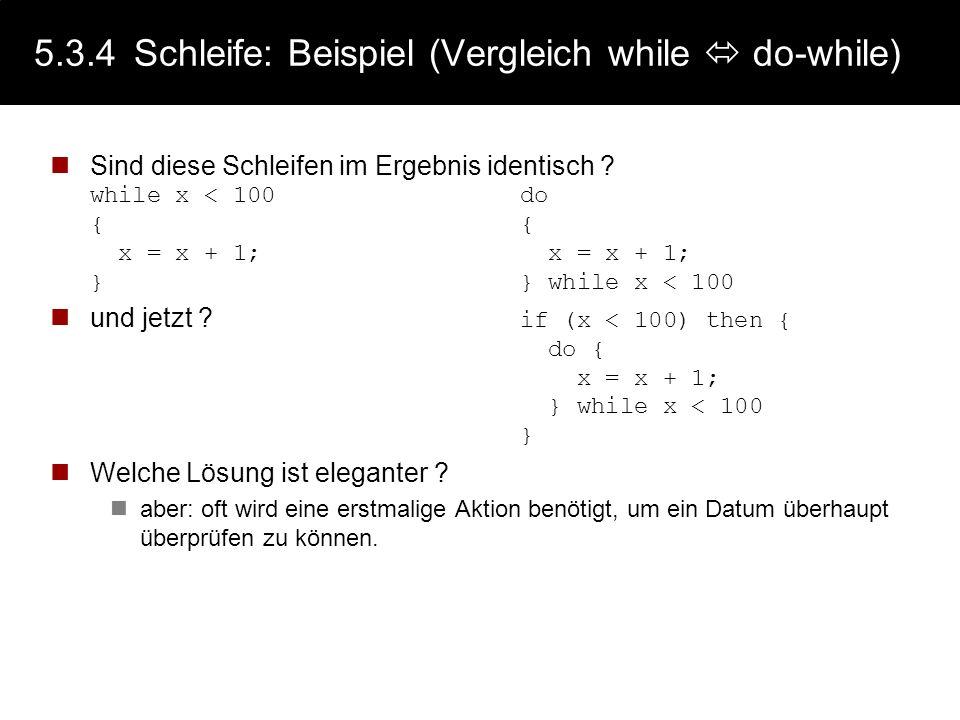 5.3.4 Schleife: Beispiel (Vergleich while  do-while)