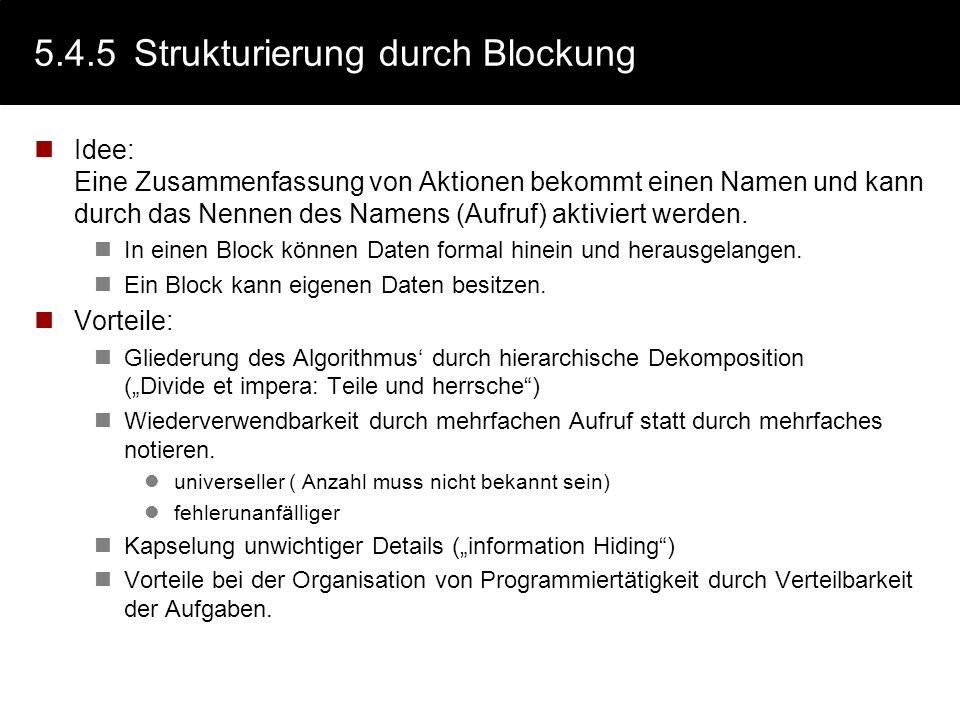 5.4.5 Strukturierung durch Blockung