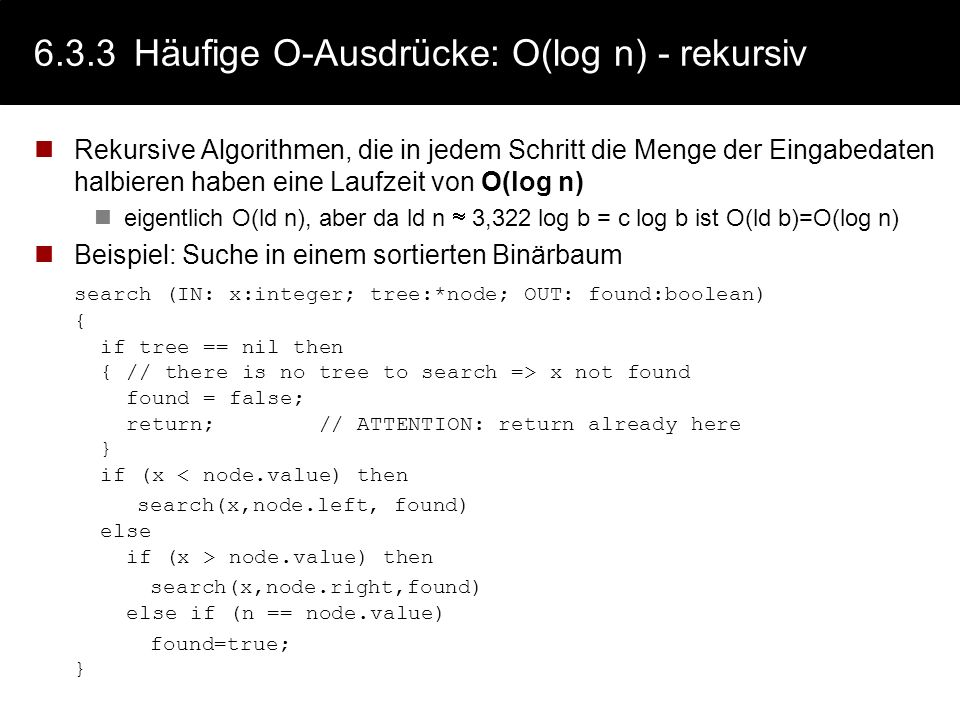 6.3.3 Häufige O-Ausdrücke: O(log n) - rekursiv