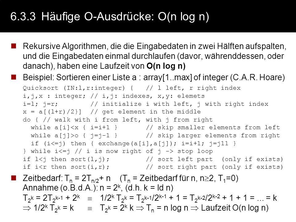 6.3.3 Häufige O-Ausdrücke: O(n log n)