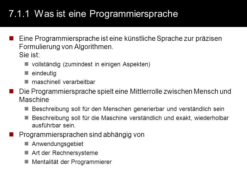 7.1.1 Was ist eine Programmiersprache