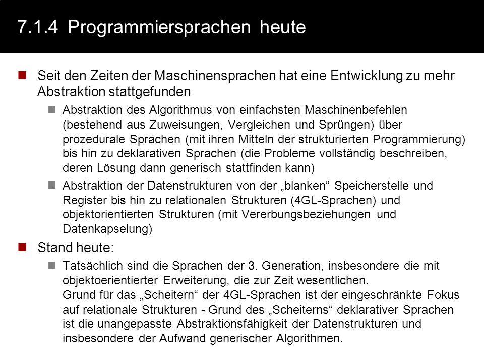 7.1.4 Programmiersprachen heute