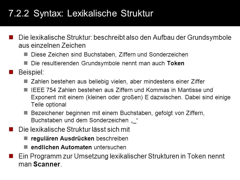 7.2.2 Syntax: Lexikalische Struktur