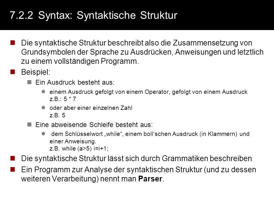7.2.2 Syntax: Syntaktische Struktur