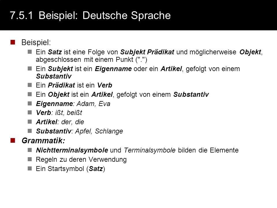7.5.1 Beispiel: Deutsche Sprache