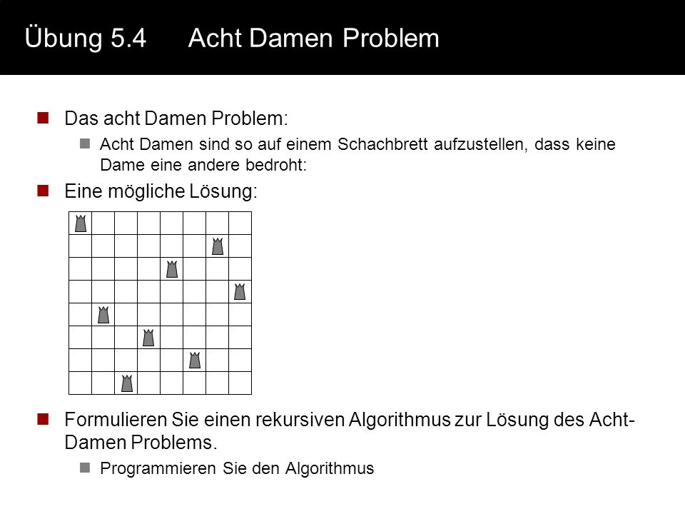 Übung 5.4 Acht Damen Problem