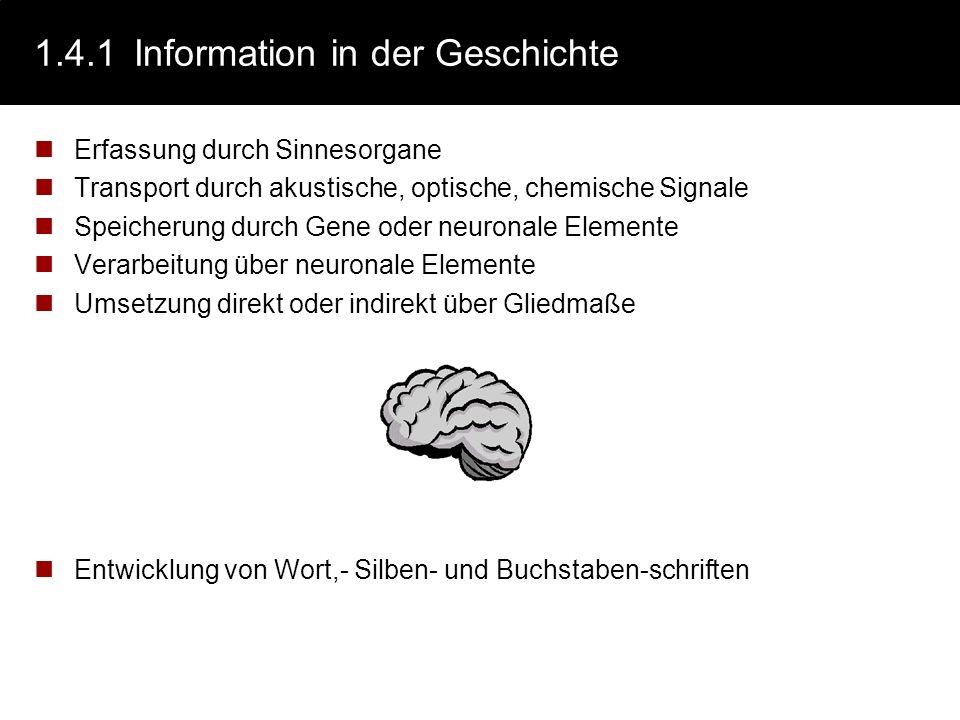 1.4.1 Information in der Geschichte