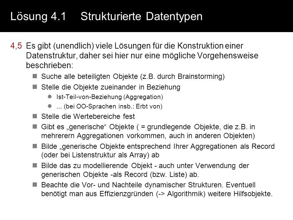 Lösung 4.1 Strukturierte Datentypen