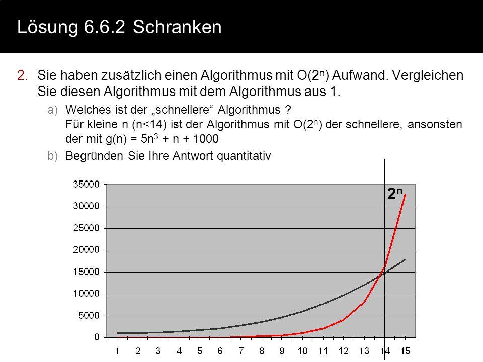 Lösung 6.6.2 Schranken Sie haben zusätzlich einen Algorithmus mit O(2n) Aufwand. Vergleichen Sie diesen Algorithmus mit dem Algorithmus aus 1.