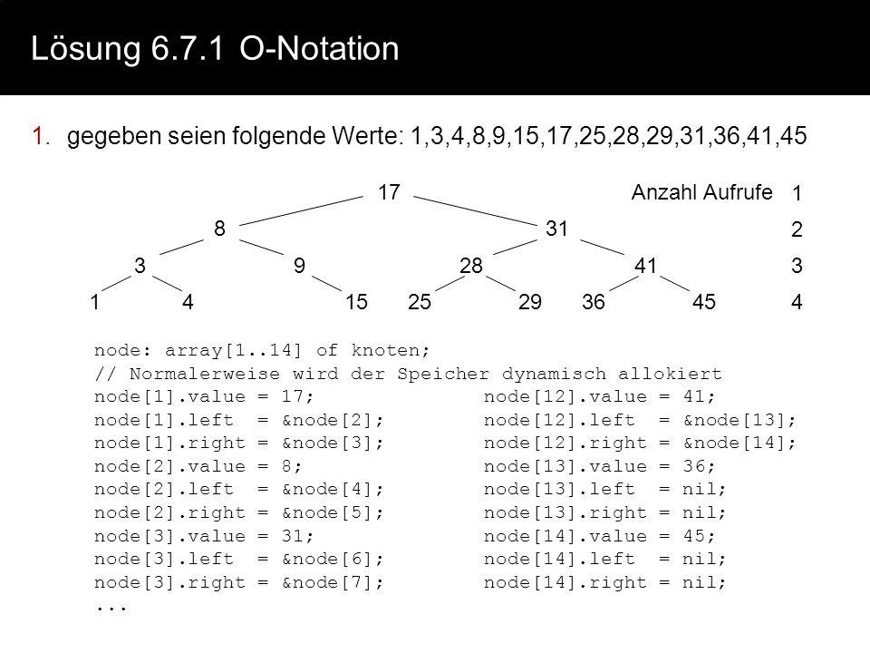 Lösung 6.7.1 O-Notation gegeben seien folgende Werte: 1,3,4,8,9,15,17,25,28,29,31,36,41,45. 17. 31.