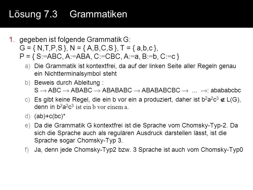 Lösung 7.3 Grammatiken
