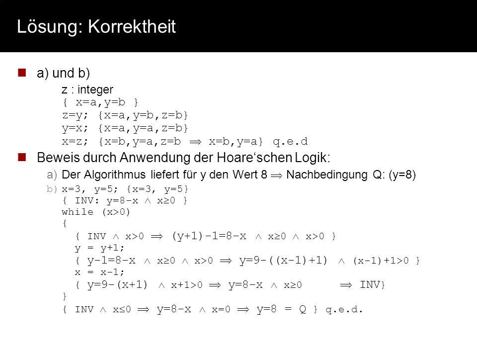 Lösung: Korrektheit a) und b)