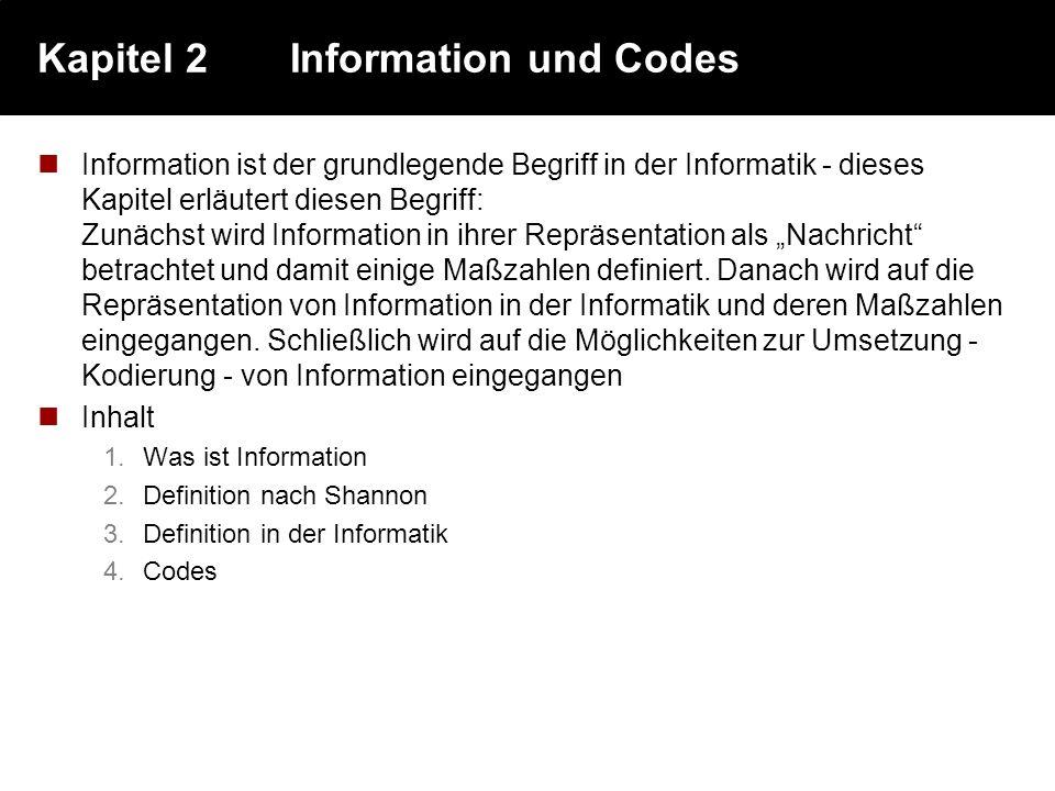Kapitel 2 Information und Codes