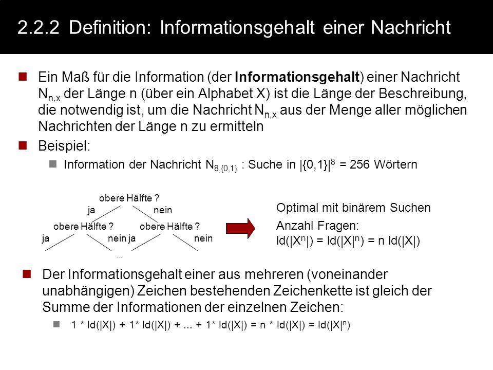 2.2.2 Definition: Informationsgehalt einer Nachricht