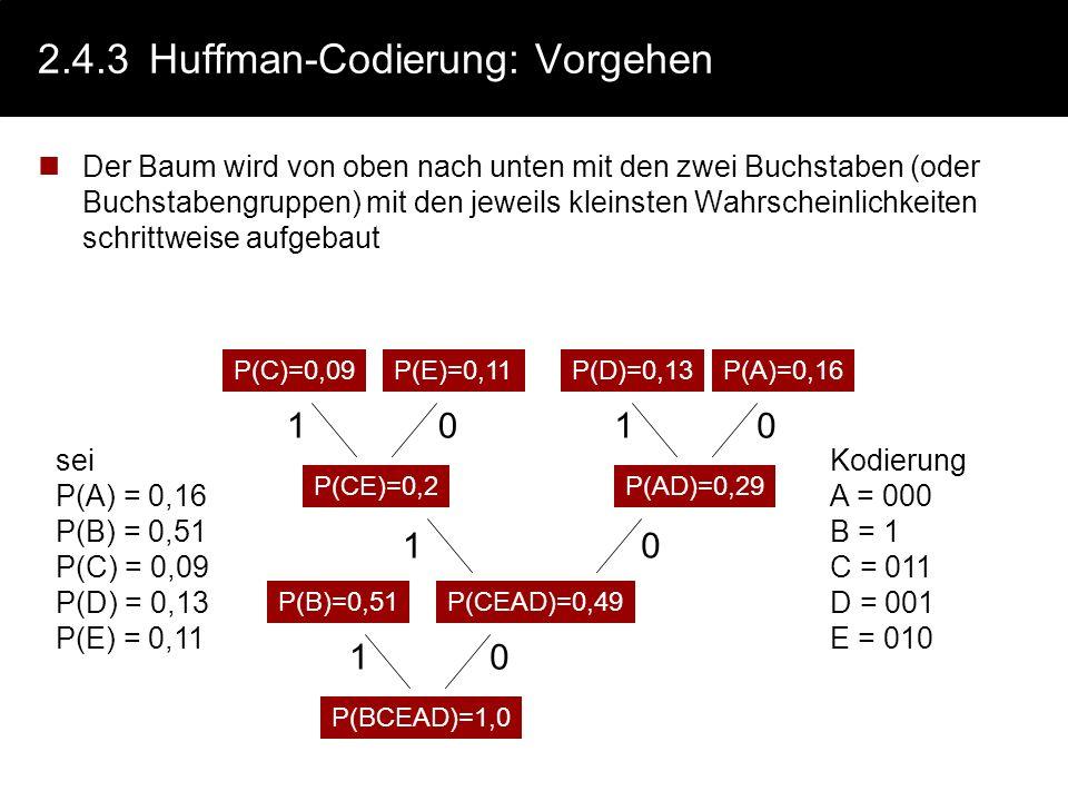 2.4.3 Huffman-Codierung: Vorgehen