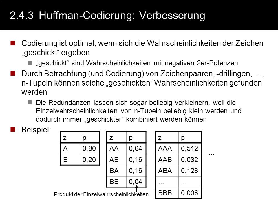 2.4.3 Huffman-Codierung: Verbesserung