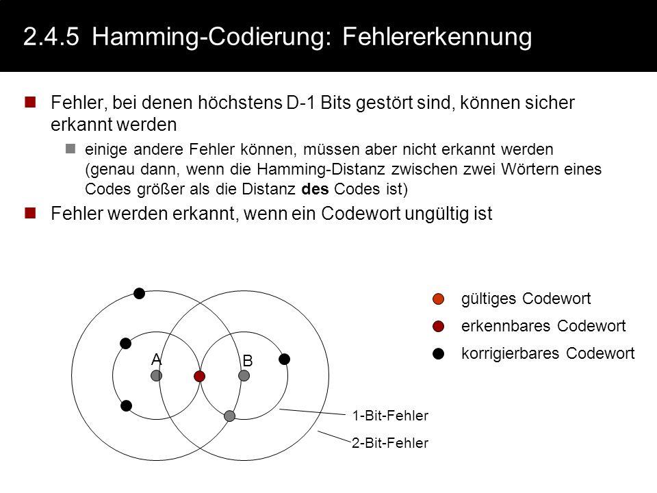 2.4.5 Hamming-Codierung: Fehlererkennung