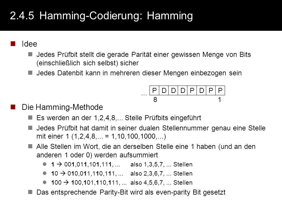 2.4.5 Hamming-Codierung: Hamming