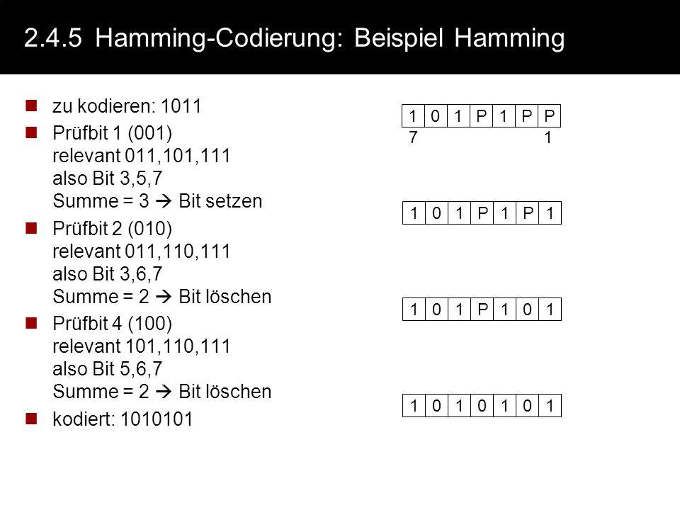 2.4.5 Hamming-Codierung: Beispiel Hamming