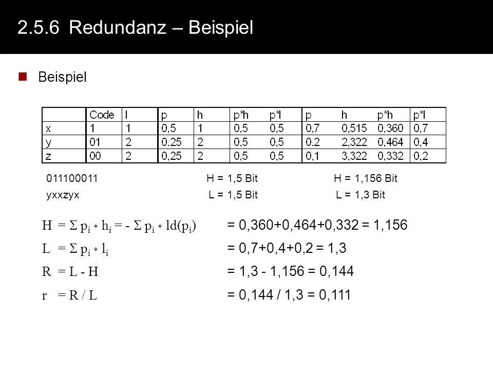 2.5.6 Redundanz – Beispiel Beispiel
