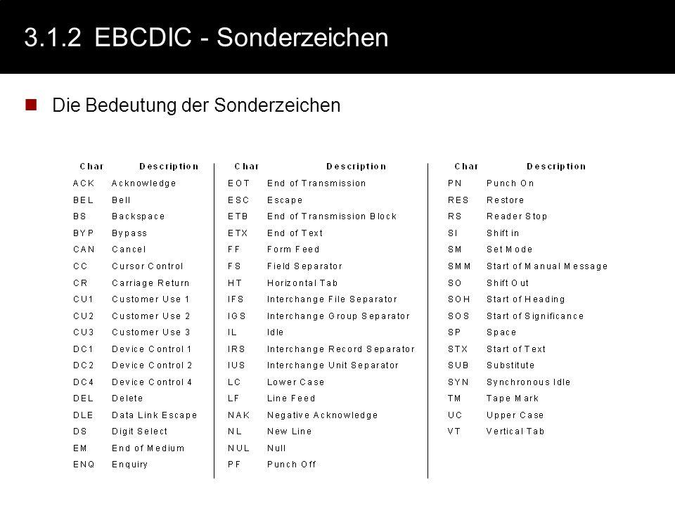 3.1.2 EBCDIC - Sonderzeichen