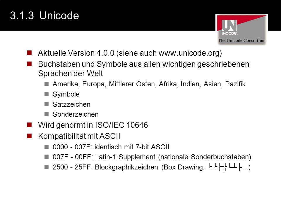 3.1.3 Unicode Aktuelle Version 4.0.0 (siehe auch www.unicode.org)