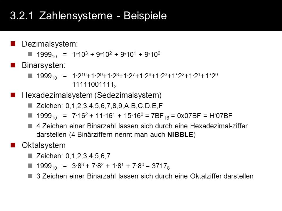 3.2.1 Zahlensysteme - Beispiele