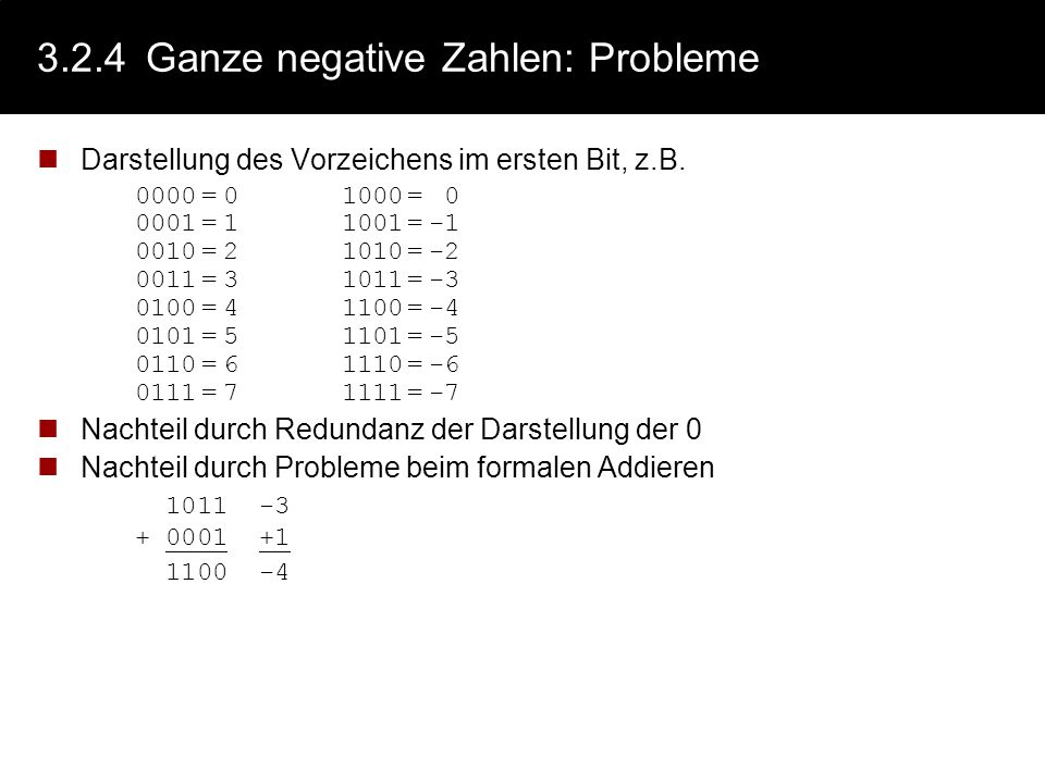 3.2.4 Ganze negative Zahlen: Probleme
