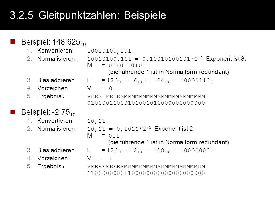 3.2.5 Gleitpunktzahlen: Beispiele