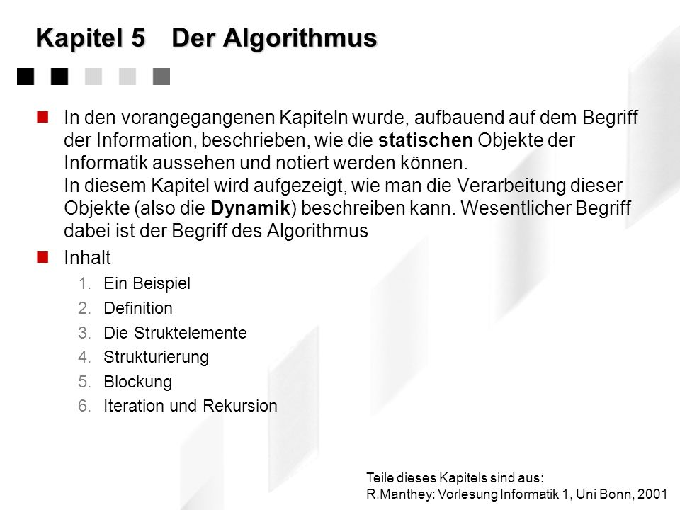 Kapitel 5 Der Algorithmus