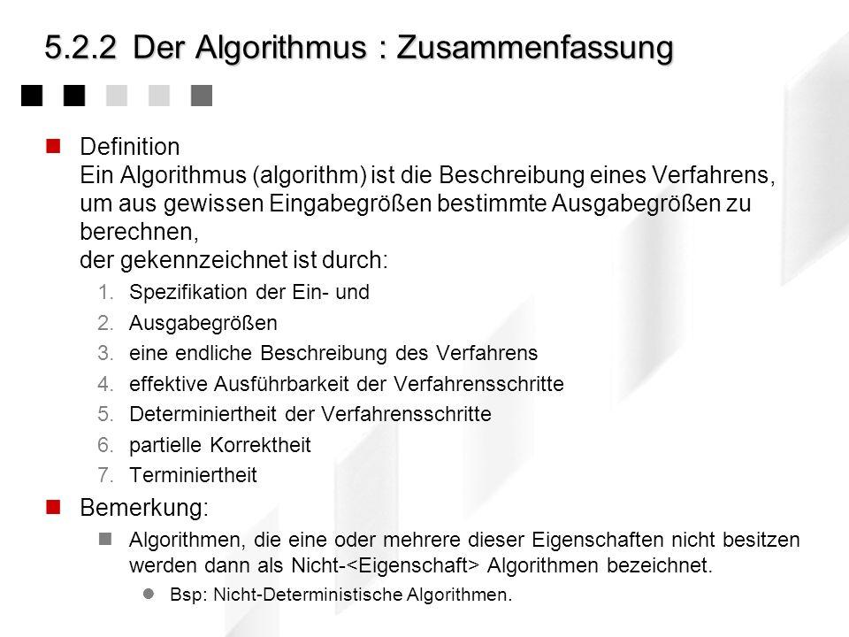5.2.2 Der Algorithmus : Zusammenfassung