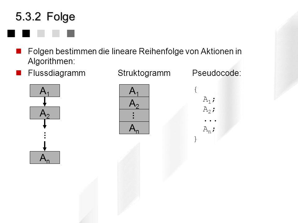 5.3.2 Folge Folgen bestimmen die lineare Reihenfolge von Aktionen in Algorithmen: Flussdiagramm Struktogramm Pseudocode: