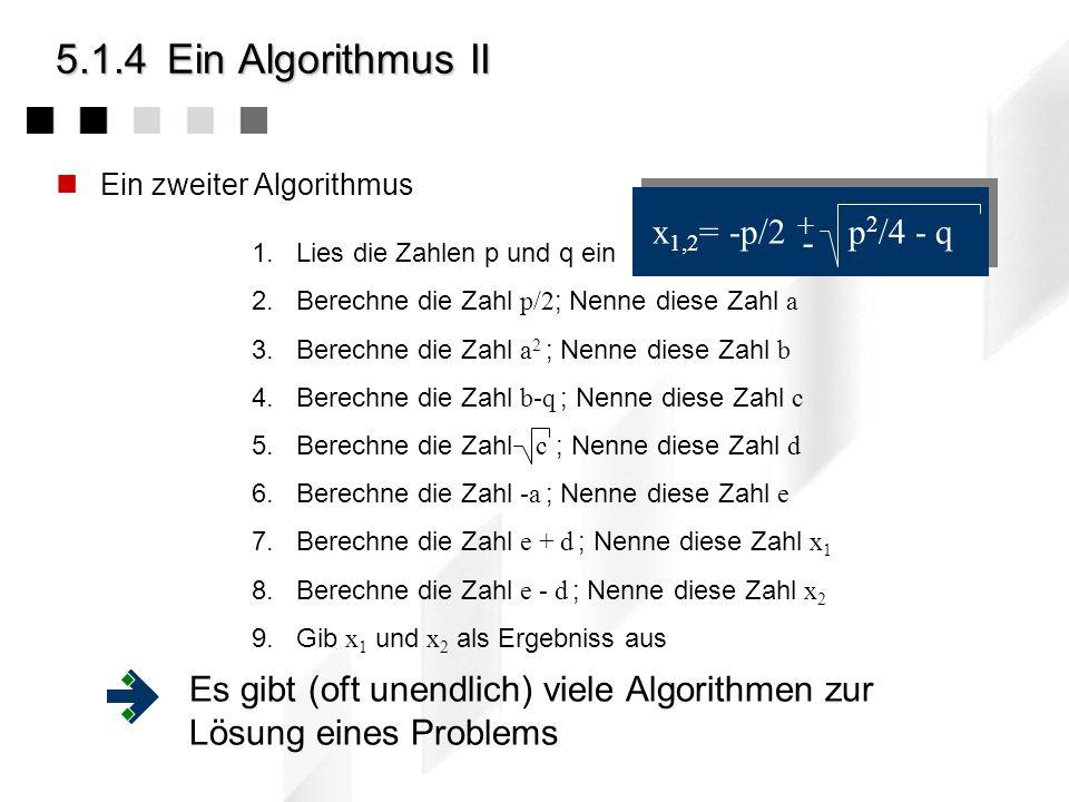 5.1.4 Ein Algorithmus II x1,2= -p/2 p2/4 - q -