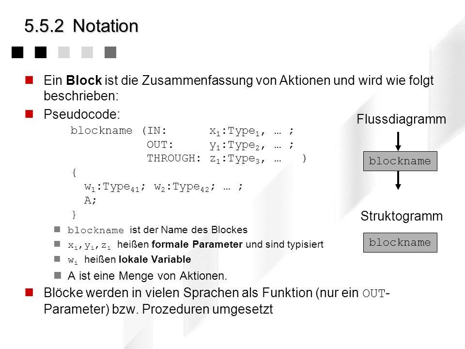 5.5.2 Notation Ein Block ist die Zusammenfassung von Aktionen und wird wie folgt beschrieben: