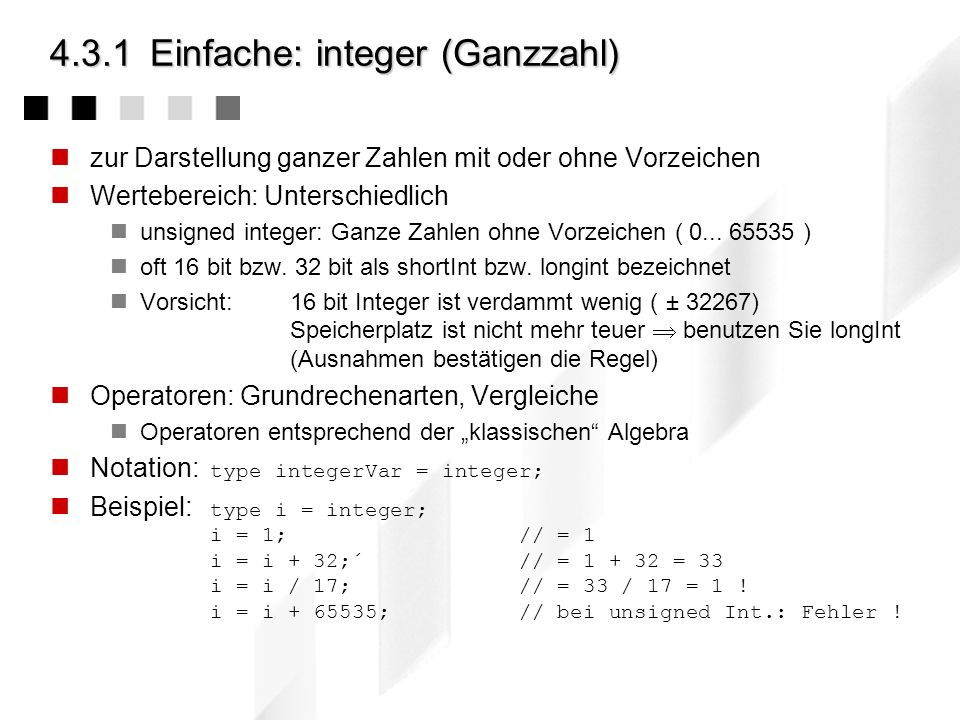 4.3.1 Einfache: integer (Ganzzahl)