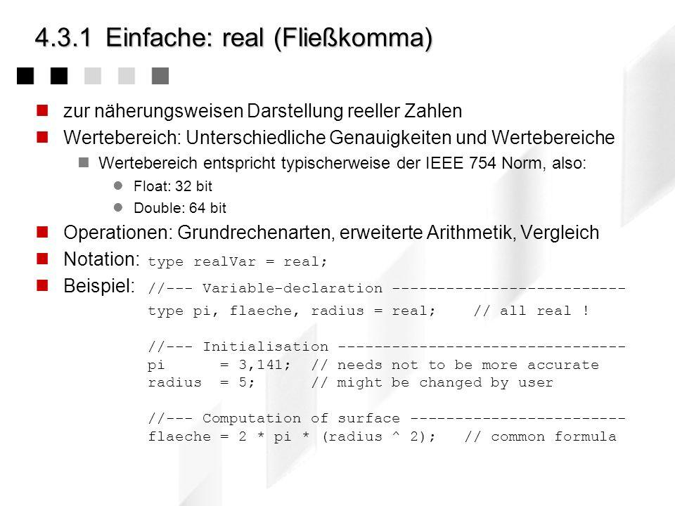 4.3.1 Einfache: real (Fließkomma)