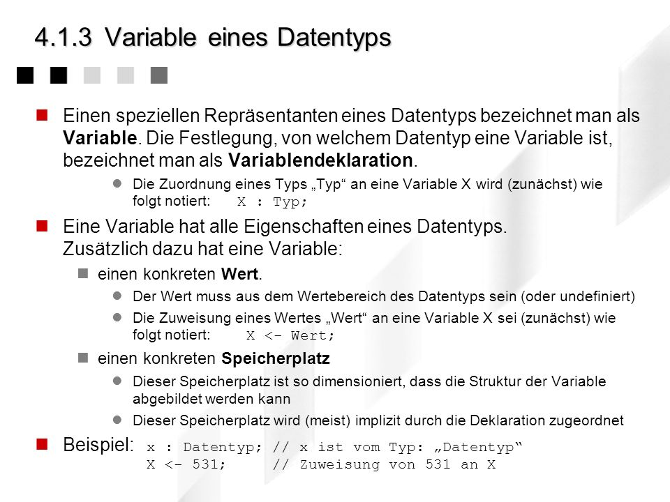 4.1.3 Variable eines Datentyps