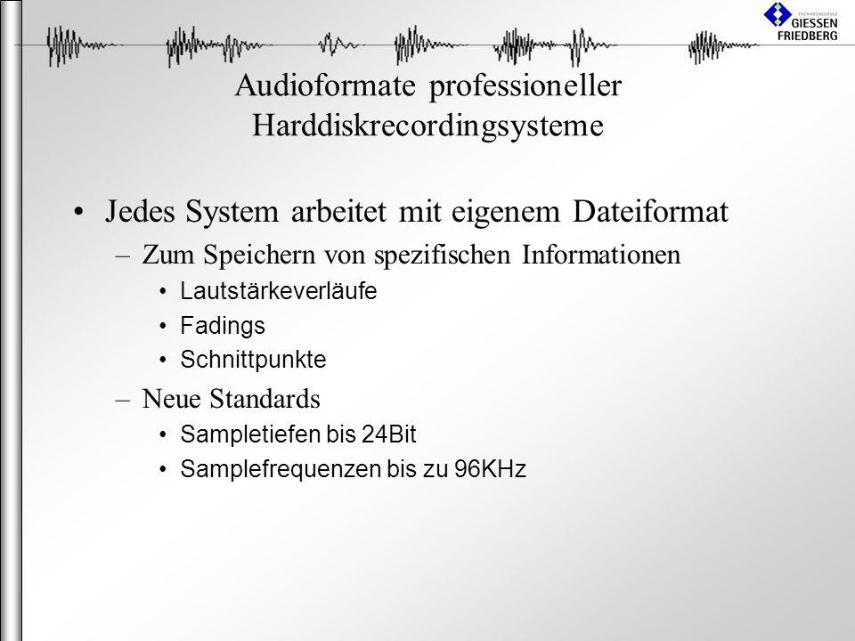 Audioformate professioneller Harddiskrecordingsysteme