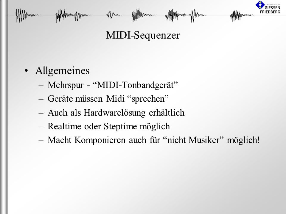 MIDI-Sequenzer Allgemeines Mehrspur - MIDI-Tonbandgerät