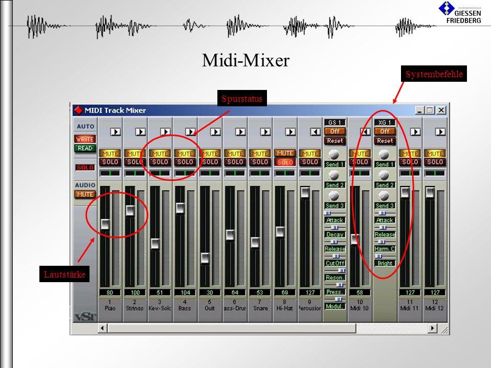 Midi-Mixer Systembefehle Spurstatus Lautstärke